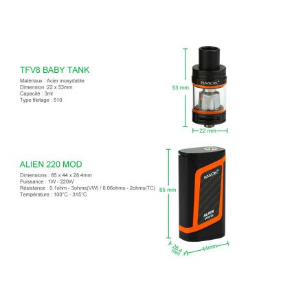 Kit Alien 220W Smoktech clearomiseur TFV8 Baby
